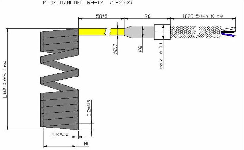 Чертеж спирального нагревателяRH17
