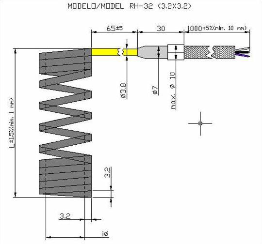 Чертеж спирального нагревателя RH32 с квадратным сечением