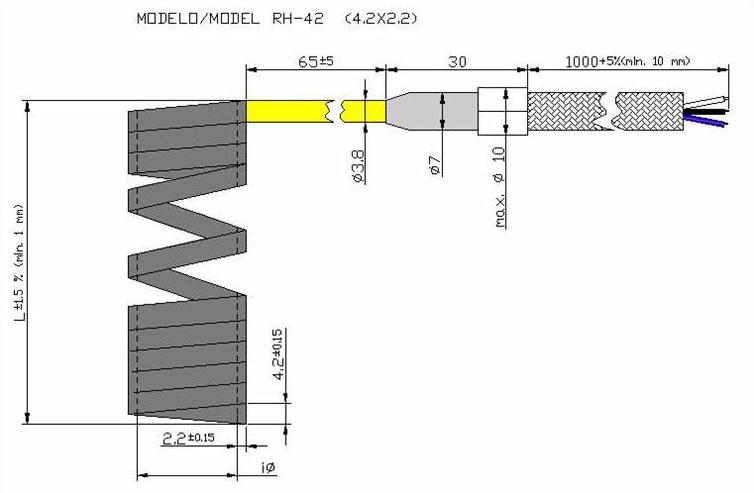 Чертеж спирального нагревателя RH42