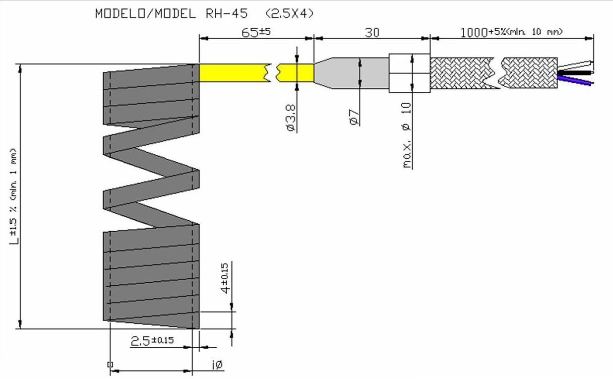 Чертеж спирального нагревателя RH45