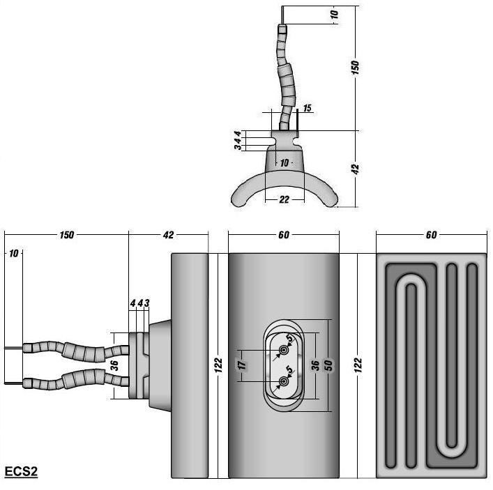 Чертеж керамического сферического ИК излучателя ECS2