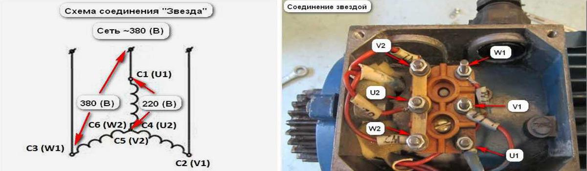 Соединение звездой обмоток электродвигателя. Элемаг